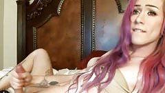 sexy pink haired tgirl shoots cum into her mouth