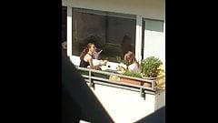 Neighbor teen and girlfriend breakfast candid views