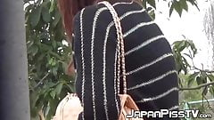 Japanese babes filmed peeing all around town