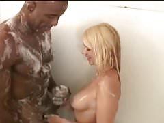 Blonde Wife Worships Her Black Bull In Shower