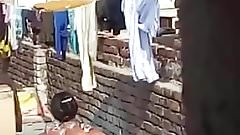 Aunty Bathing Topless in Terrace..
