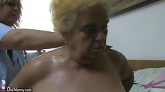 Mature woman using dildo on chubby granny's Thumb