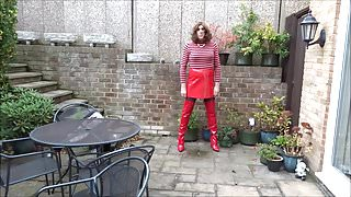 Alison - Piss and Cum in Red PVC Skirt and Thigh Boots