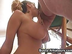 Busty amateur Tera tittyfuck and blowjob action