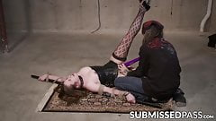 Curvy young sub roped down and toy fucked by master