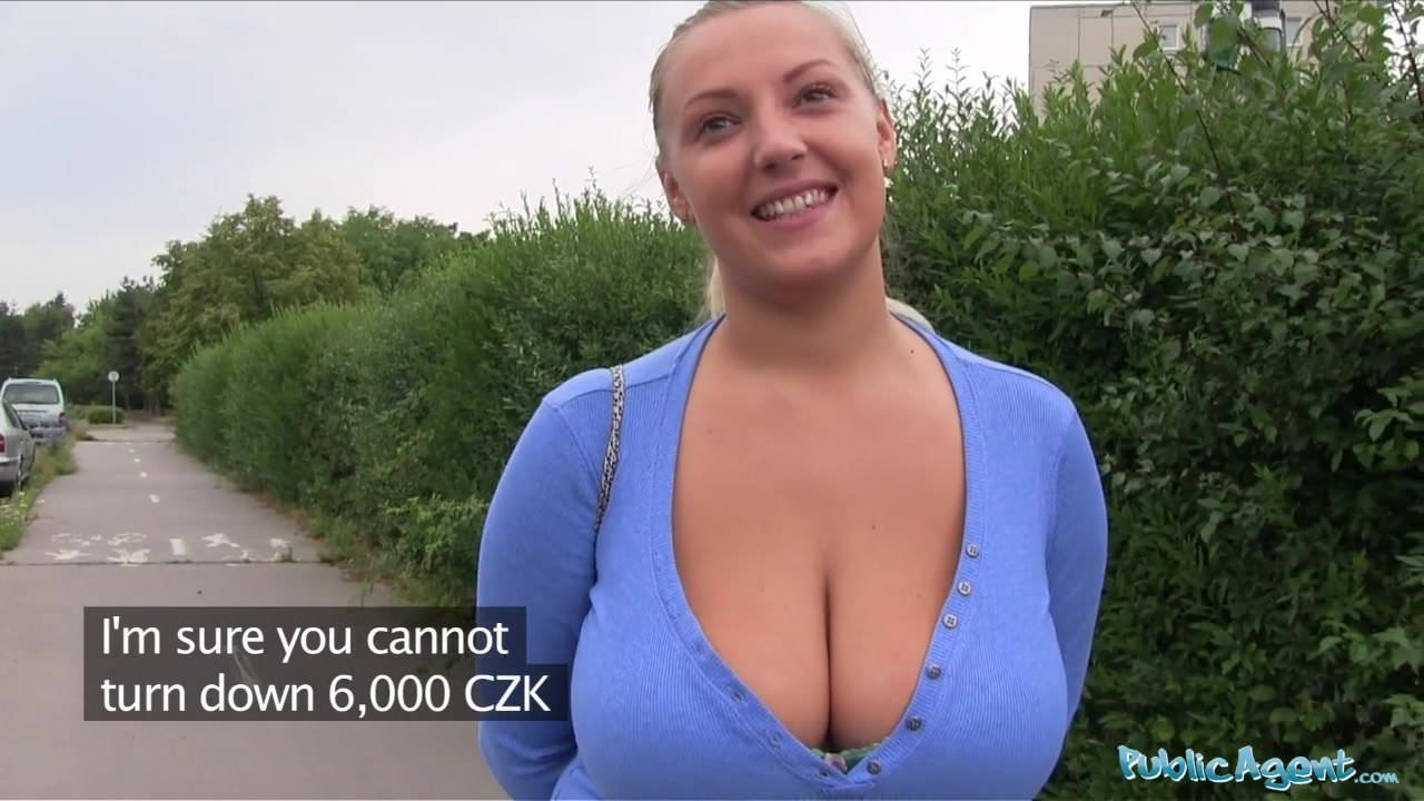 Phrase being fucked agent oversized boobs outside public was and with