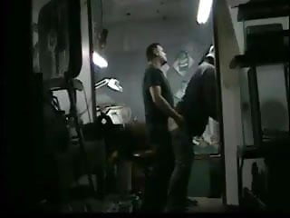 str8 man action:when wife are at home he have fun in garage