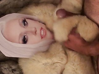 Playing with Lady Gaga in fur