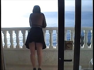 All sexy legs - Sexy legs shows all on the balcony