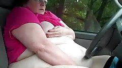 BBW masturbating in car park several times