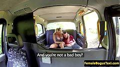Bigtitted british cabbie consoles before sex