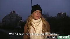 Money talks to blonde babe Chrissy Fox as she fucks outdoors