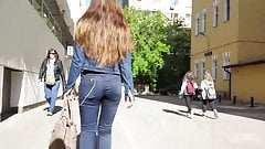 Hot girl with sexy small ass in tight jeans
