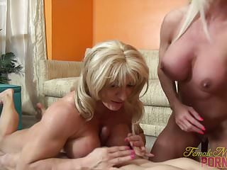 Preview 3 of Two Female Bodybuilders Fuck One Dude