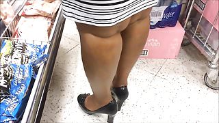 Candid Shoe Fetish - Close Up of Black Lady's Heels & Legs