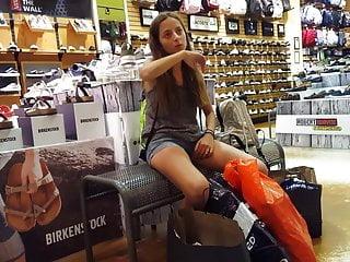 Candid voyeur teens skinny shopping shorts hot legs