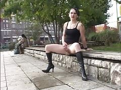 Daring outdoor peeing next to people wearing high heels 1