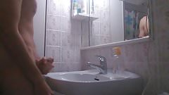 Big cumshot makes the faucet to drip with cum