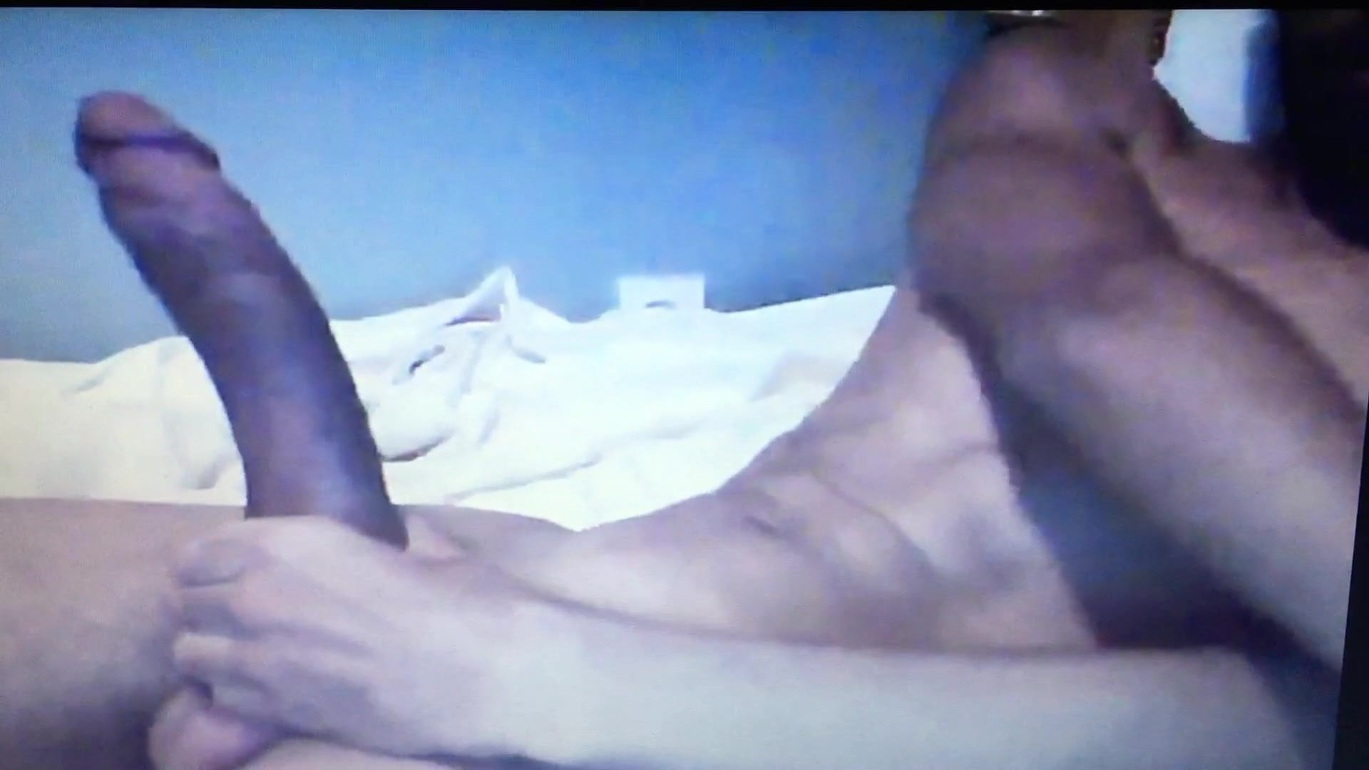 Black man edging his 12inch enormous hung horse  cock on cam