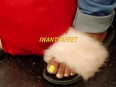 Candid ebony feet fuzzy slippers and sandals