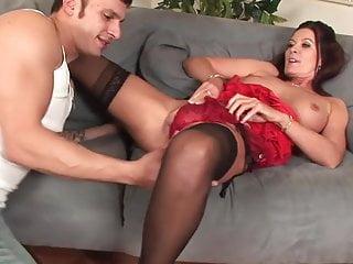 Hot Brunette milf cougar in stockings fucks younger guy
