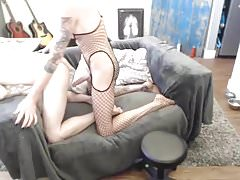 3 Amatuer trannies and 1 guy on cam