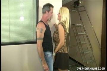 Hot Busty Milf Jerks Off A Mature Man
