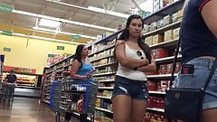 DW Brunette PAWG college girl in coffee aisle