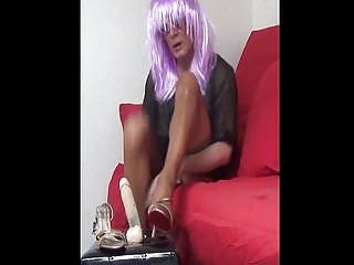 Preview 3 of A FOOT JOB with a DILDO while Madam GETS FUCKED by 6 GUYS