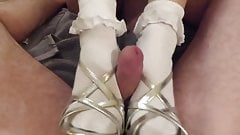 Footjob in Frilly Socks and Peeptoe Shoes: Free Porn 32