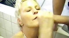 Check My MILF Blonde mature wife bathroom fun video