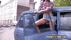 Naked russian GF in the car