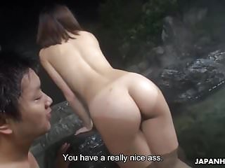 Fucking and creaming in her pussy at the hot springs