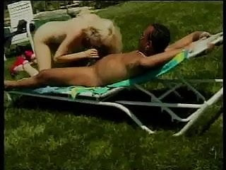 Cute blonde girl gets big black dick in mouth, pussy, and her tight asshole
