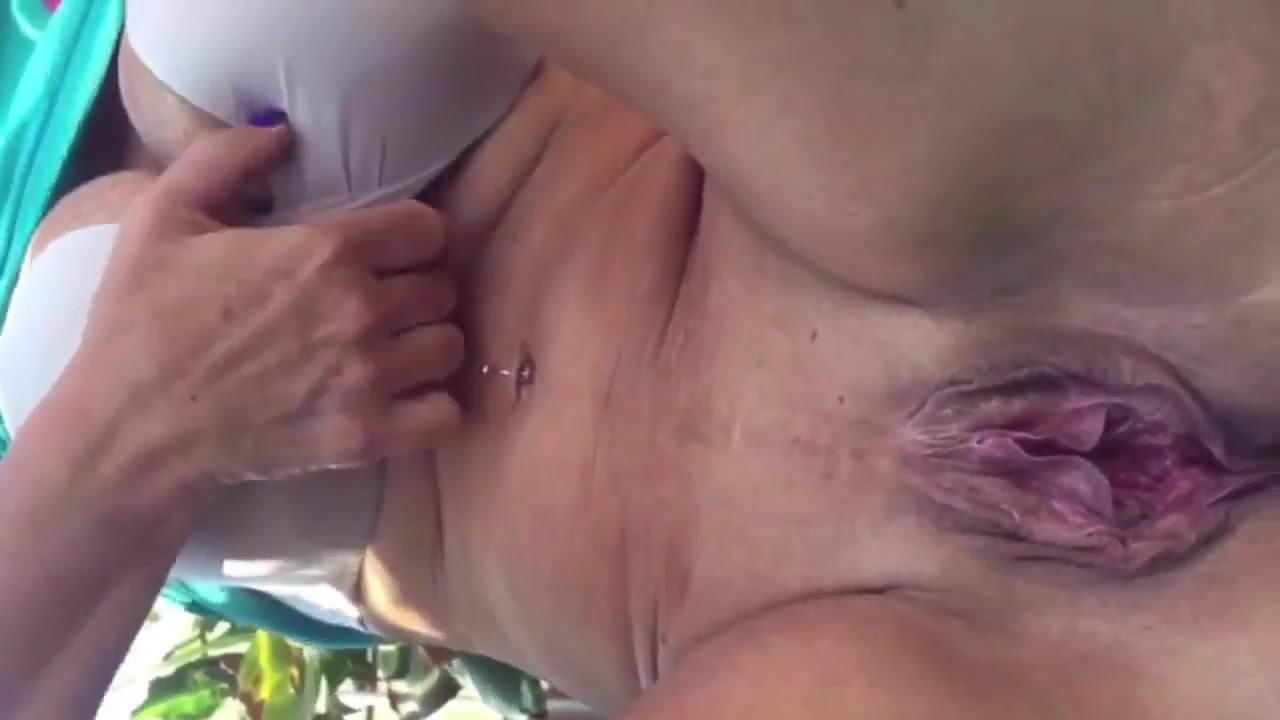 Old granny pissing closeup