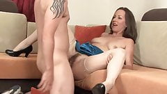Skinny Milf Cougar In Stockings Take A Great Facial