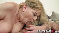 Chubby granny treated with cock in pussy and cum in mouth