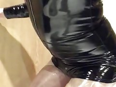 Playing in my black pvc body, nylons and plastic wrap II