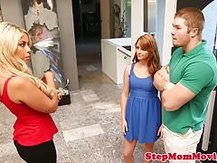Stepmom cowgirls in trio with ginger teen gal Thumbnail
