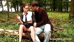 busty Schoolgirl is screwed in the woods's Thumb
