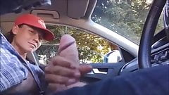 Dickflash Teen hitch hiker jerks off driver