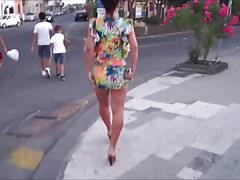 Woman in very short dress