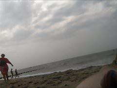 flashing naked at the beach