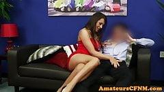 CFNM domina groping submissive guy