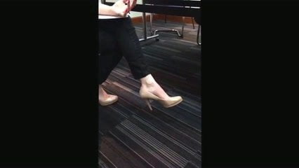 Milf in high heels dangling candid playing