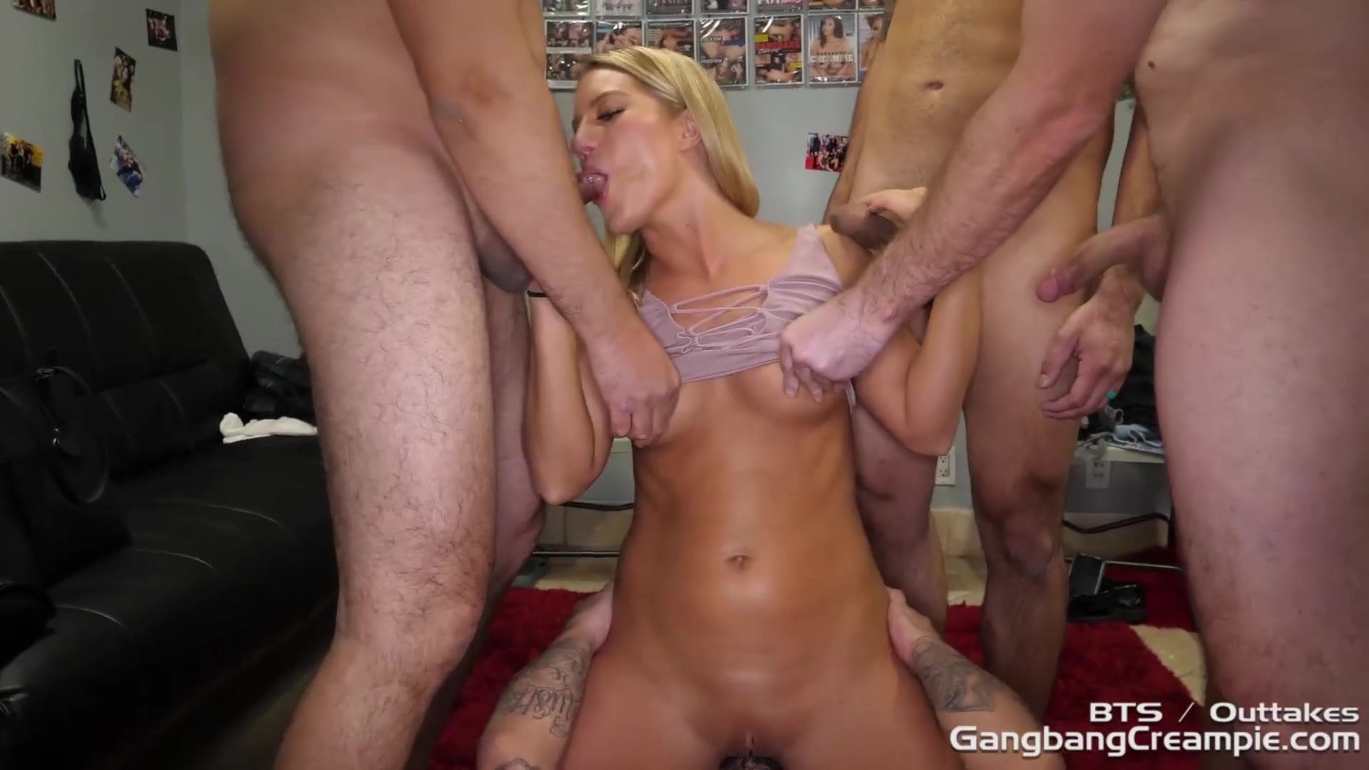 BIG BOOTY BLONDE HOTTIE GETS RAVAGED BY 5 STRANGERS