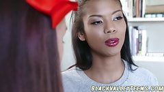 Ebony teenager Nia Nacci swallows white dick and gets poked