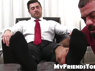 Feet worshiping and licking with classy hunk and muscular da