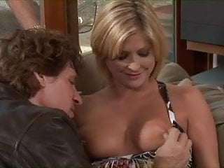 Big chested blonde gets her tits sucked then fucks in front of her husband