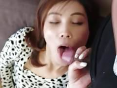 asian wife plays with pussy and cock
